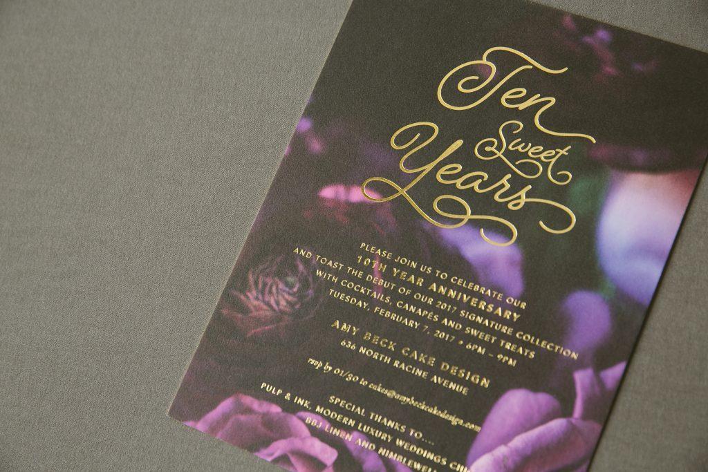 Modern floral + gold foil anniversary invitations | Bella Figura