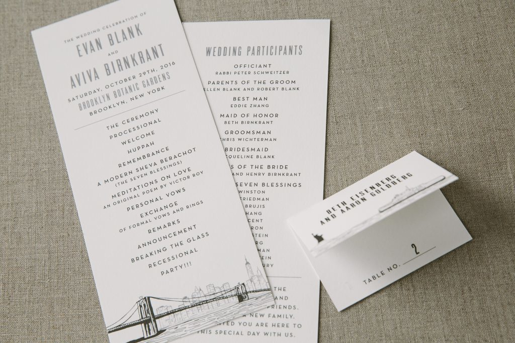 New York City themed day-of wedding stationery | Bella Figura