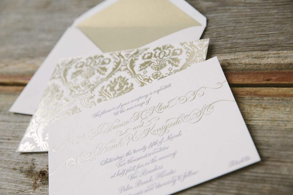 Gold foil damask wedding invitations featuring hand calligraphy | Bella Figura