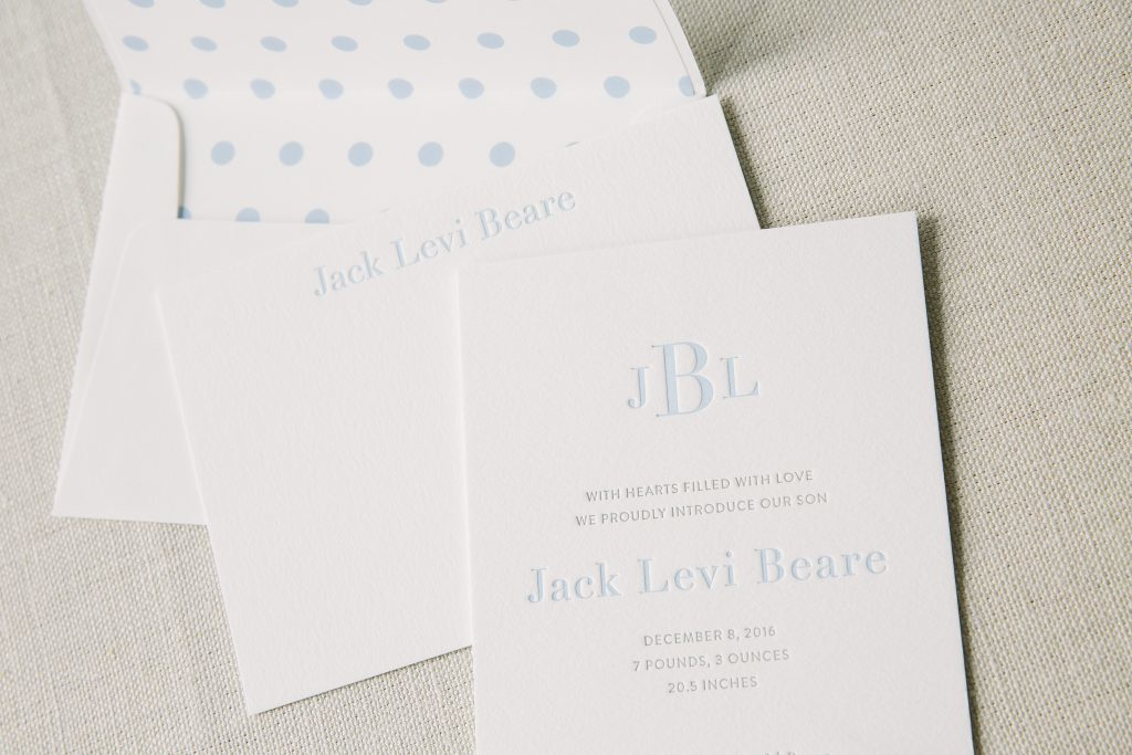 monogram letterpress birth announcements | Bella Figura