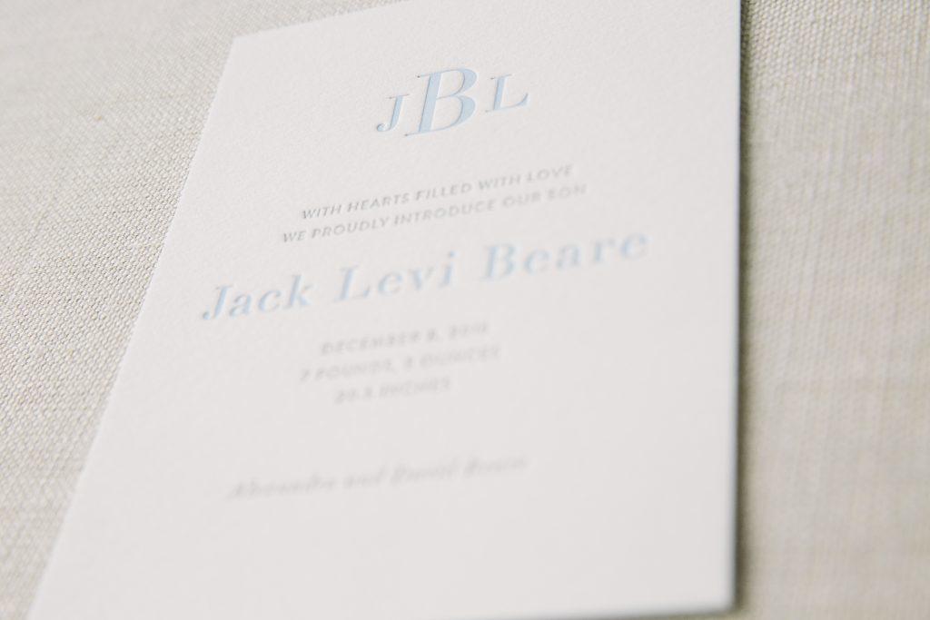 monogram letterpress birth announcements | Bella Figura