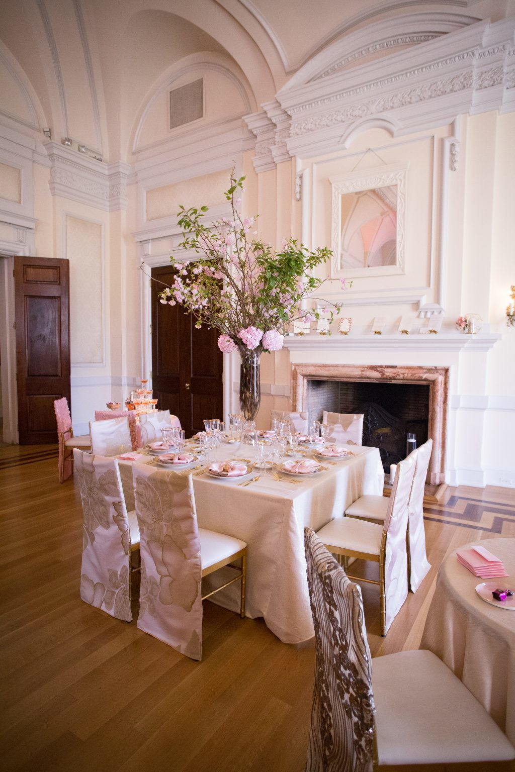 Blush and gold table setting by Karyn Michael Events at Oheka Castle