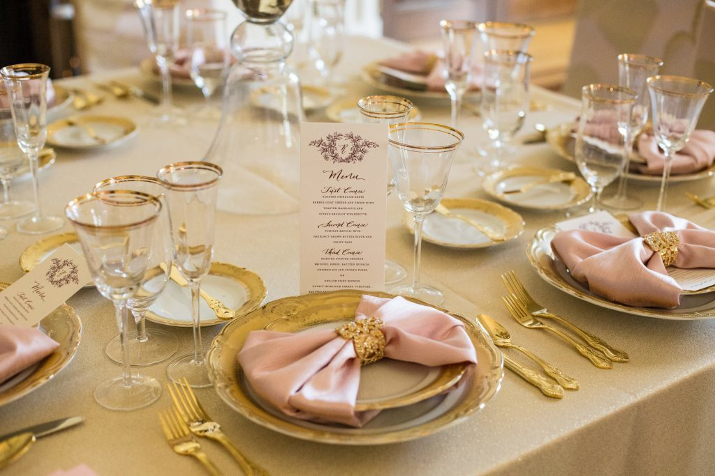 Blush and gold table setting by Karyn Michael Events