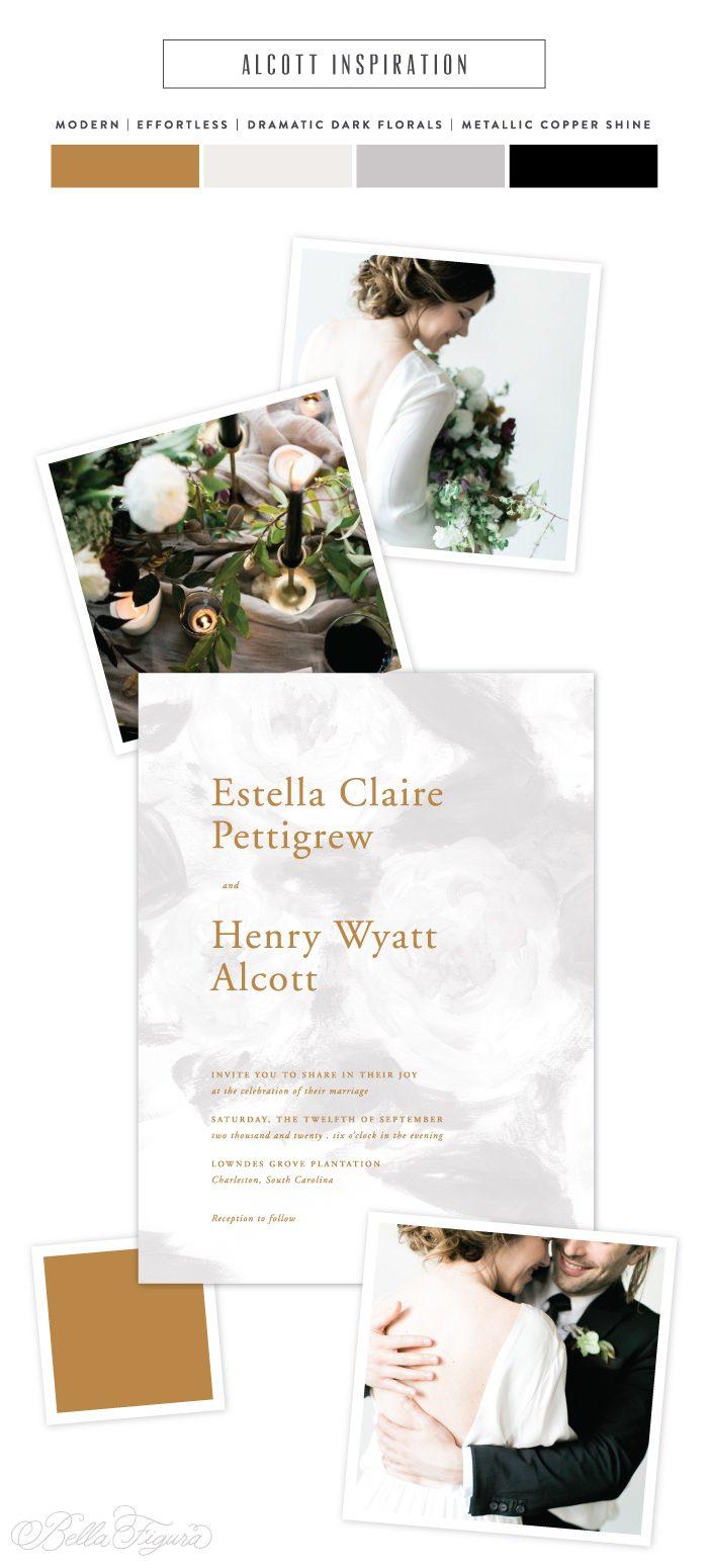 Alcott: modern watercolor wedding invitations | Bella Figura