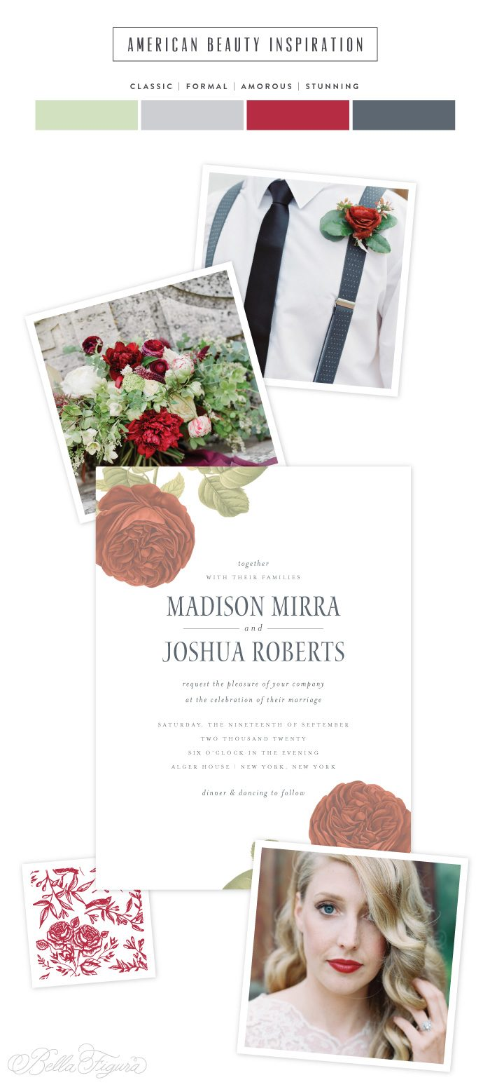 American Beauty: classic black and red rose wedding invitations