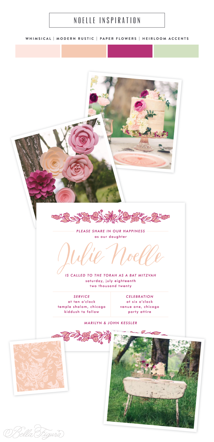 Noelle: Whimsically rustic Bat Mitzvah invitations | Bella Figura