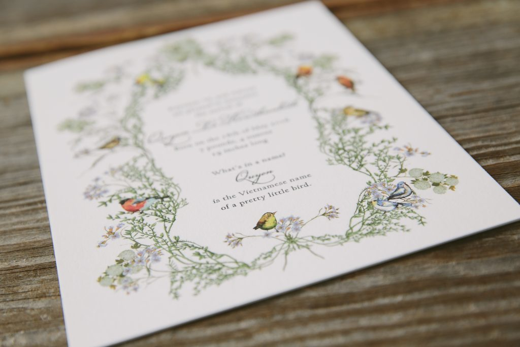 Custom letterpress botanical birth announcements | Bella Figura