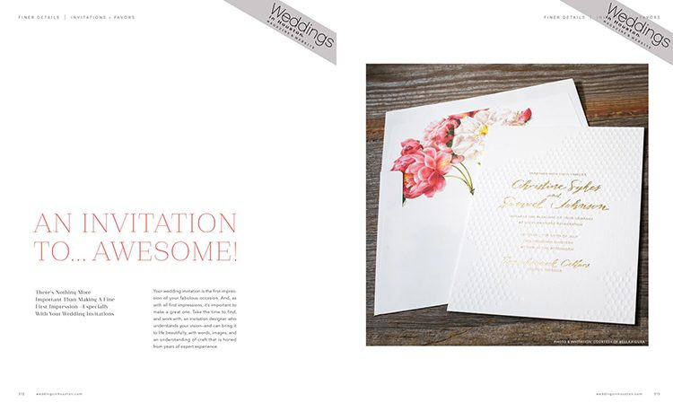 Sweet Christine wedding invitations from Bella Figura featured by Weddings in Houston magazine