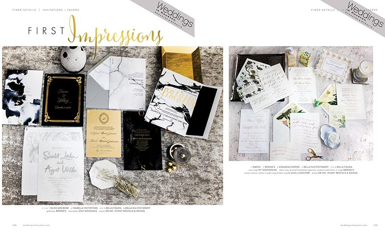Modern wedding invitations from Bella Figura featured by Weddings in Houston magazine