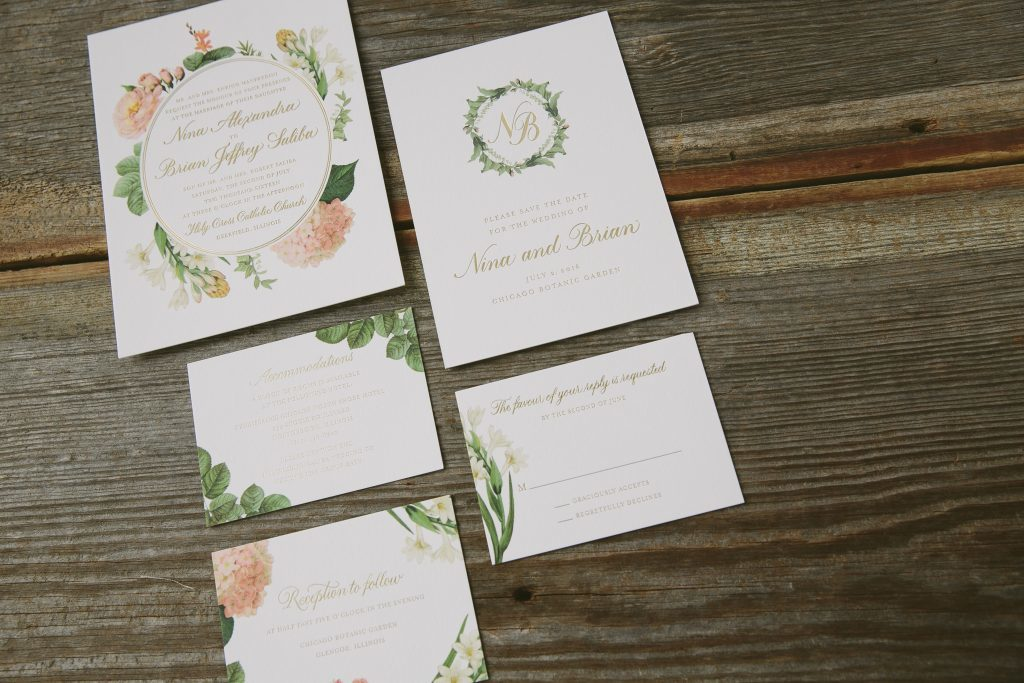 gold foil botanical wedding invitations | Bella Figura