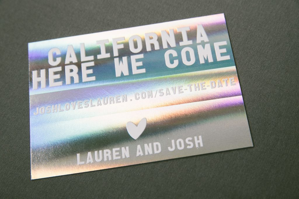 custom holographic foil save the dates | Bella Figura