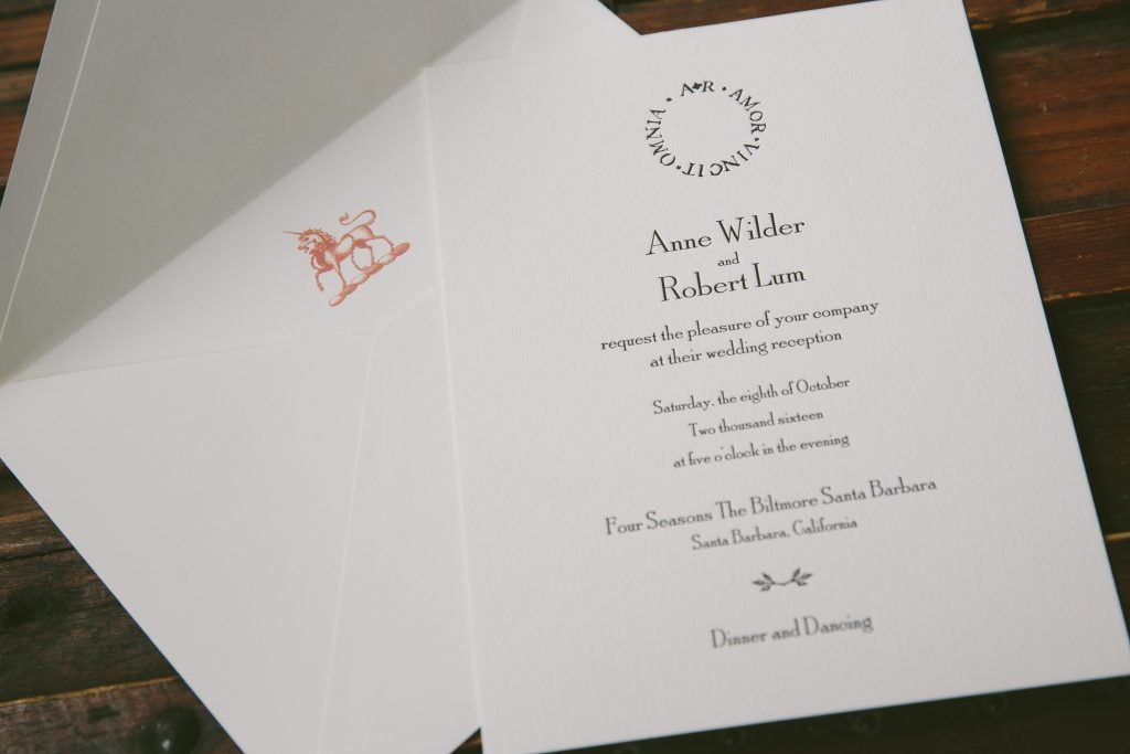 Love Conquers All wedding invitations in black letterpress | Bella Figura