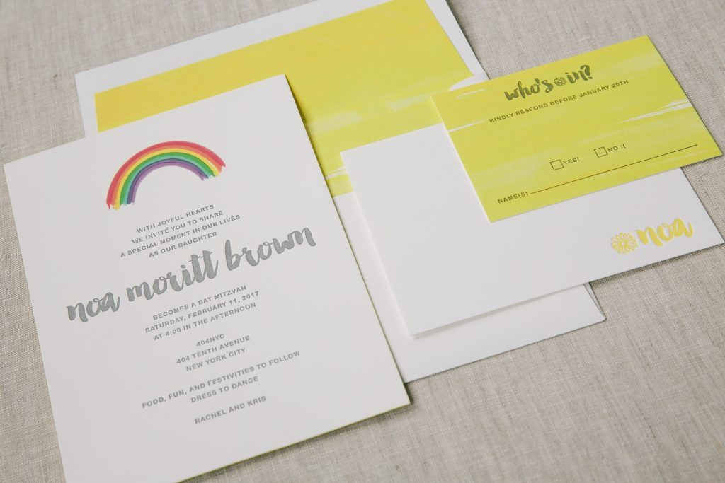Letterpress printed rainbow Bat Mitzvah invitations | Bella Figura