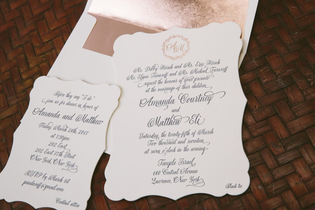 Navy Rose Gold Wedding Invitations Featuring Hand Illustrated
