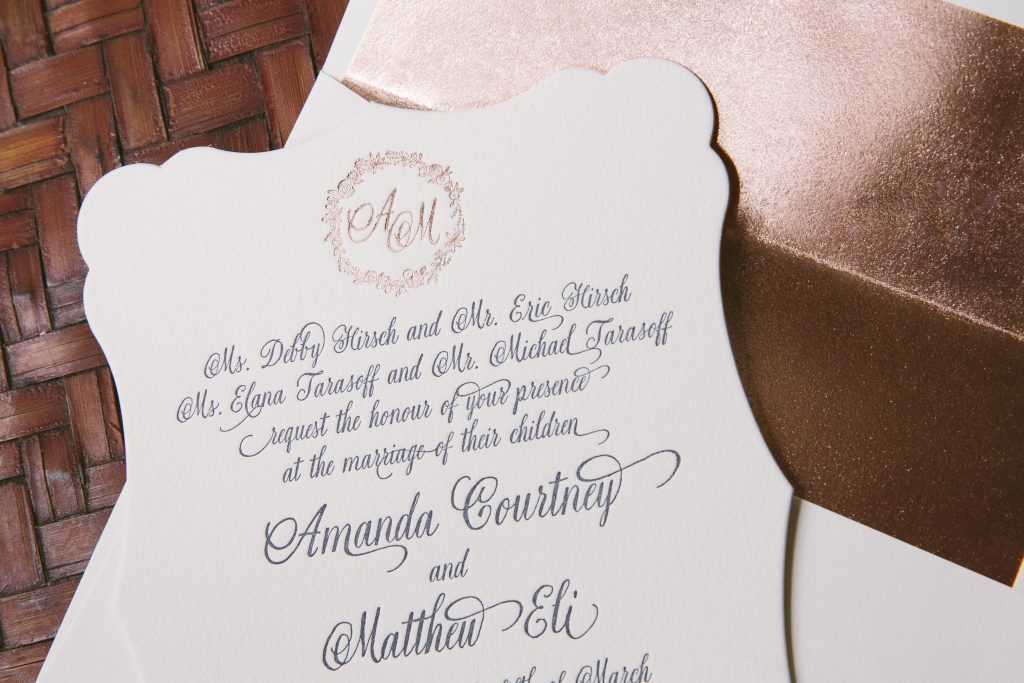 navy + rose gold wedding invitations featuring hand-illustrated floral wreath   Bella Figura