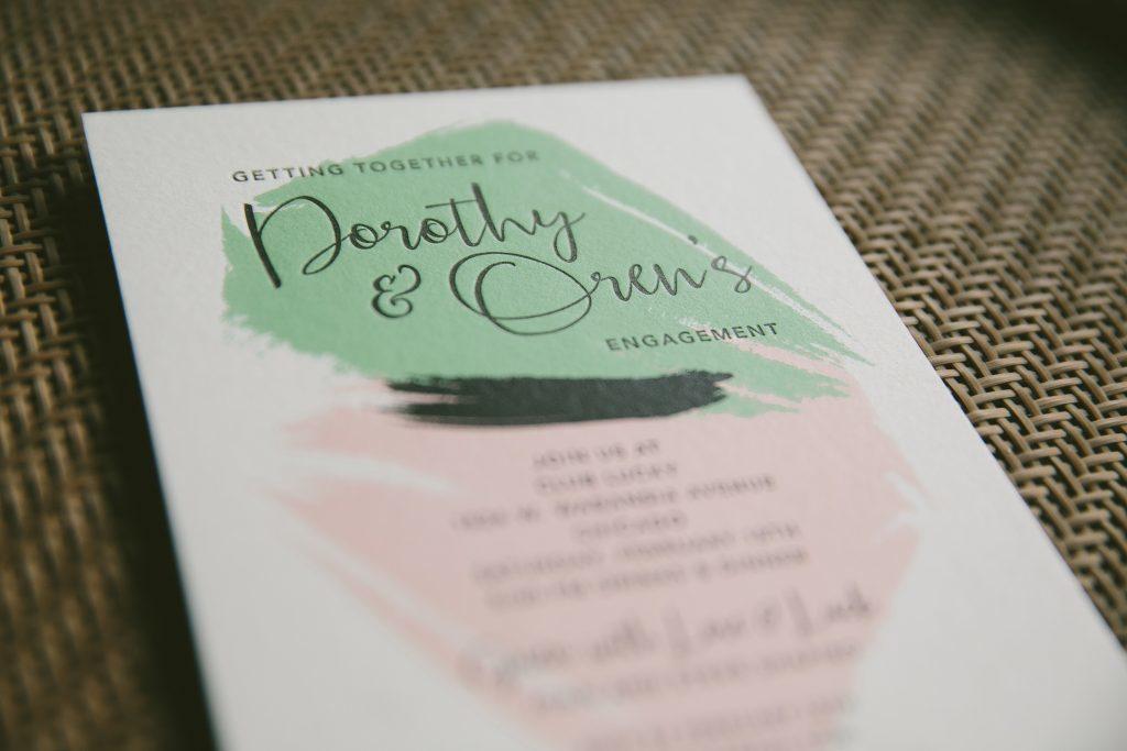 modern art inspired letterpress engagement party invitations - Bella ...
