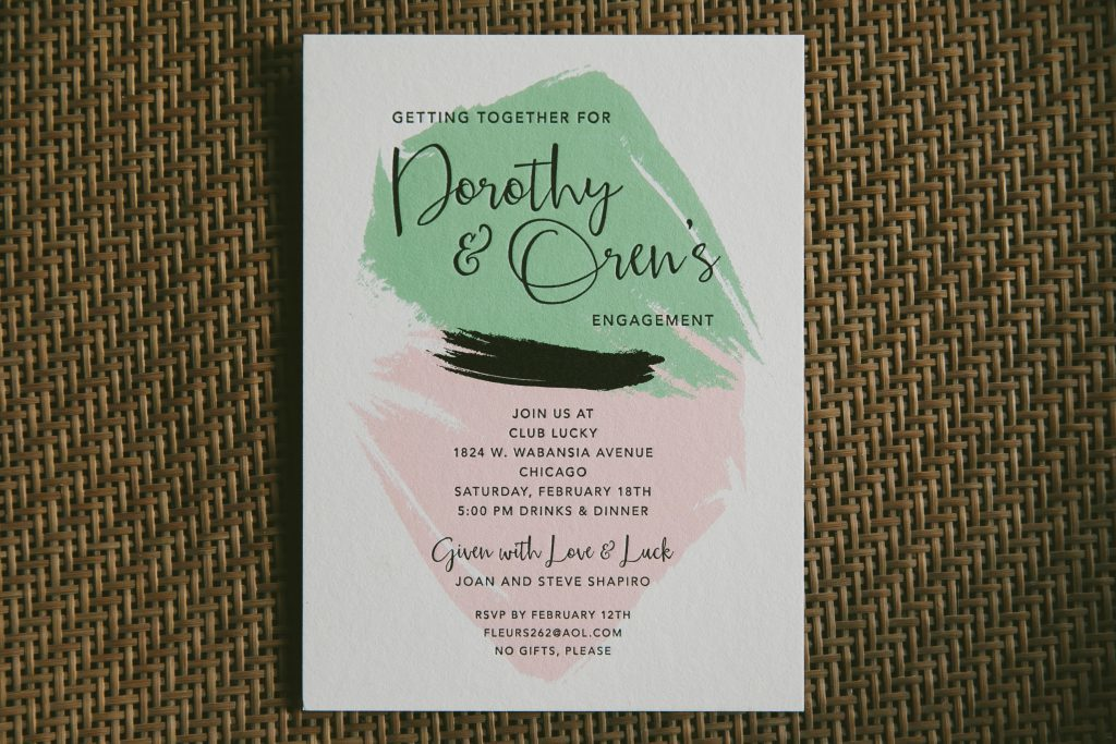 modern art inspired letterpress engagement party invitations | Bella Figura