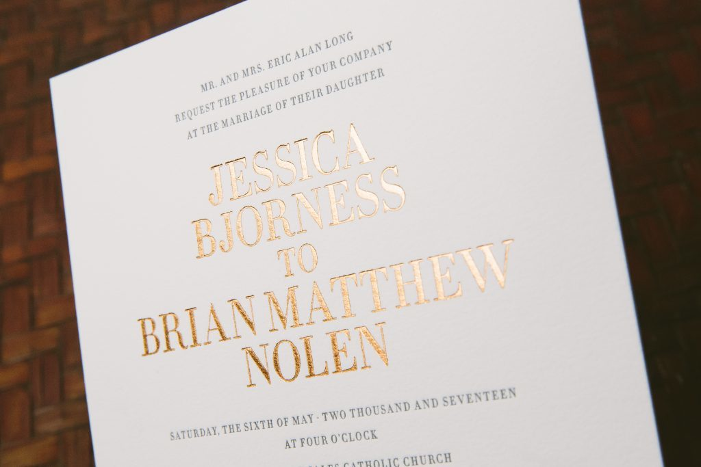 charcoal letterpress + copper foil modern typography wedding invitations | Bella Figura
