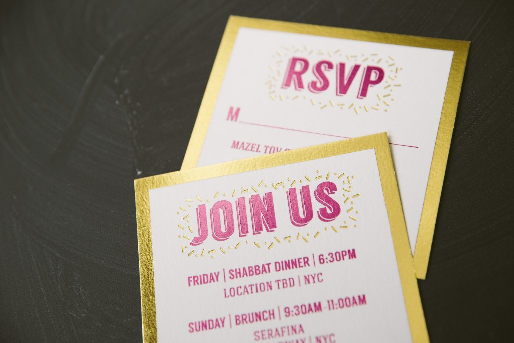 foil stamped gold and pink Bat Mitzvah invitations | Bella Figura