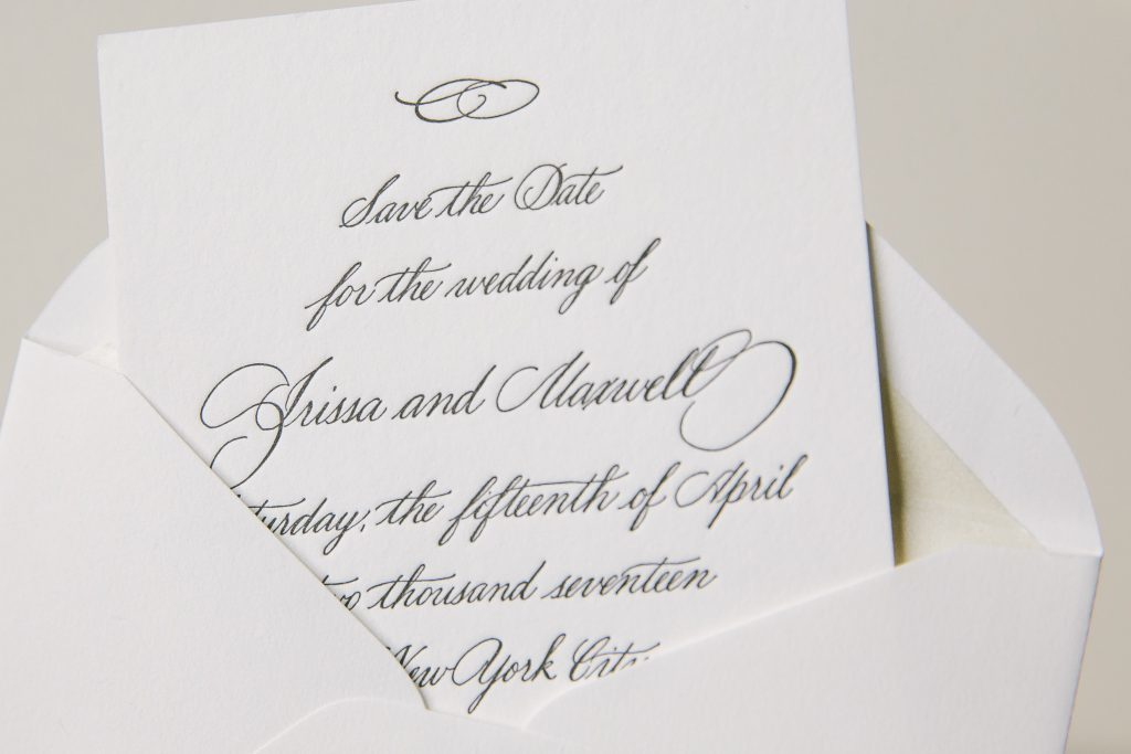 petite letterpress hand calligraphy save the dates | Bella Figura