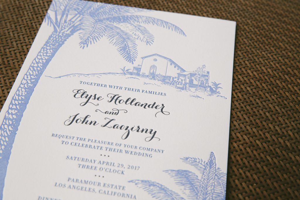 Hand-illustrated wedding invitations for Paramour Estate wedding | Bella Figura