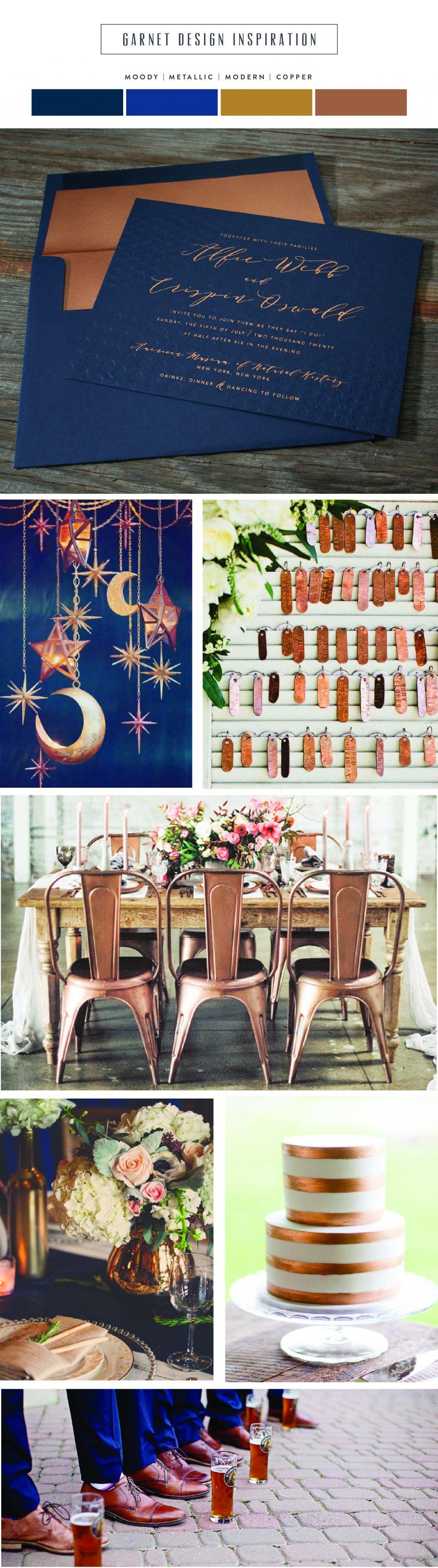 Introducing Garnet: moody + modern copper wedding invitations   Bella Figura