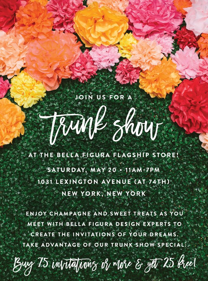 Trunk show at the Bella Figura flagship store on Saturday, May 20