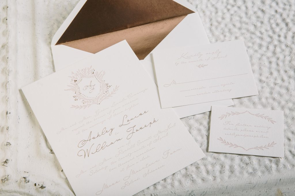 two-tone pink rose gold wedding invitations | Bella Figura
