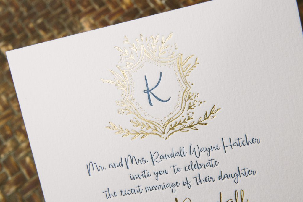 Navy and gold monogram wedding invitations | Bella Figura