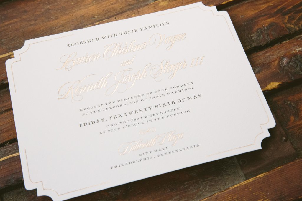 vintage typography wedding invitations for Philadelphia tall ship wedding | Bella Figura