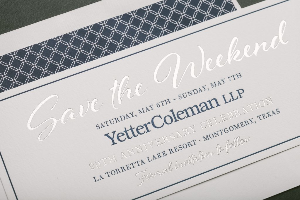 letterpress and foil stamped corporate anniversary invitations | Bella Figura