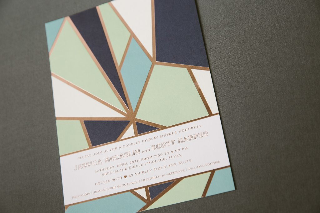 bold + colorful geometric couples shower invitations | Bella Figura