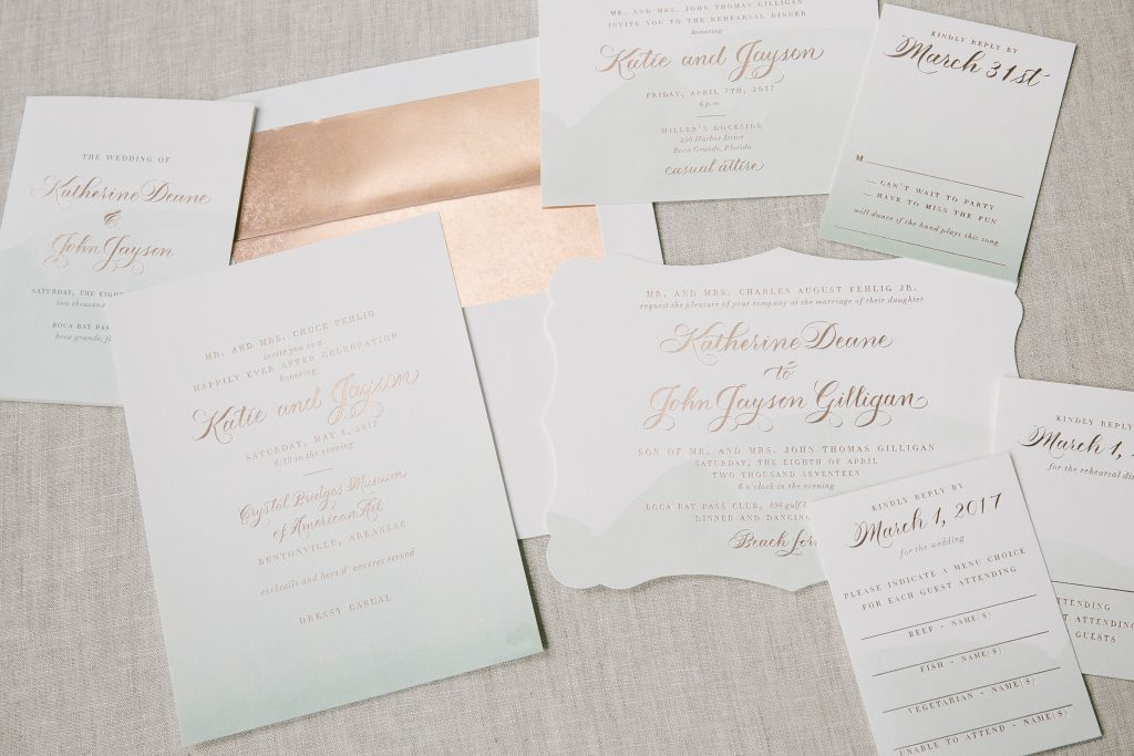 foil stamped watercolor wedding invitations and announcements | Bella Figura