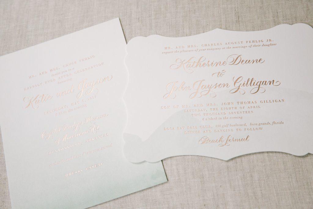 foil stamped watercolor wedding invitations and announcements | Bella Figura