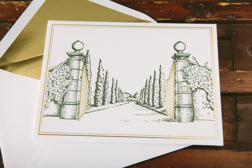 Tuscan-inspired custom illustrated wedding invitations | Bella Figura