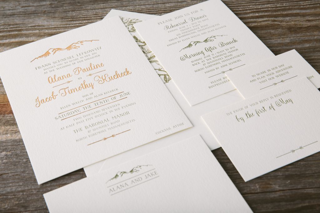 Foil stamped mountain wedding invitations | Bella Figura