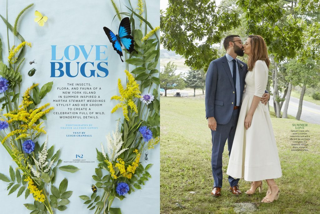 Katie Covington Crane (Senior Style Editor at Martha Stewart Weddings) worked with Bella Figura for her custom letterpress wedding invitations, featured in the summer 2017 issue of Martha Stewart Weddings magazine