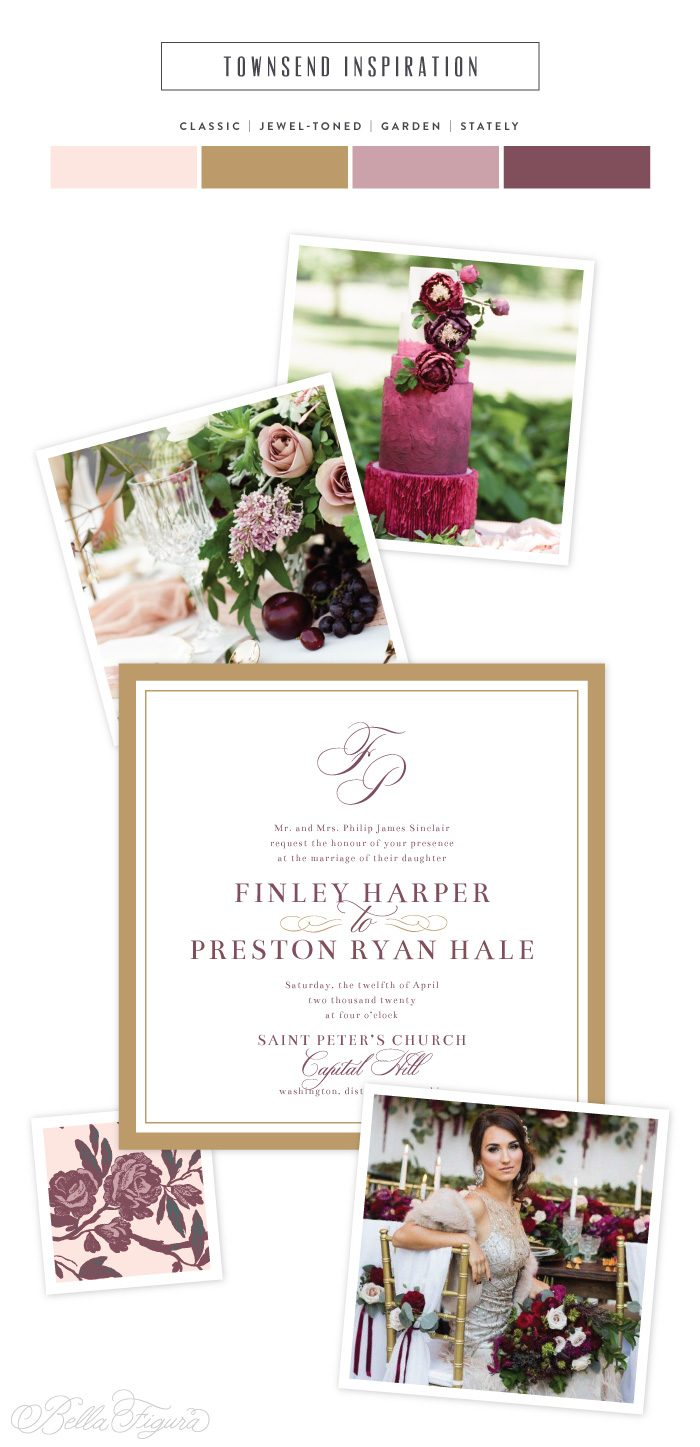 Townsend: jewel-toned wedding invitations | Bella Figura