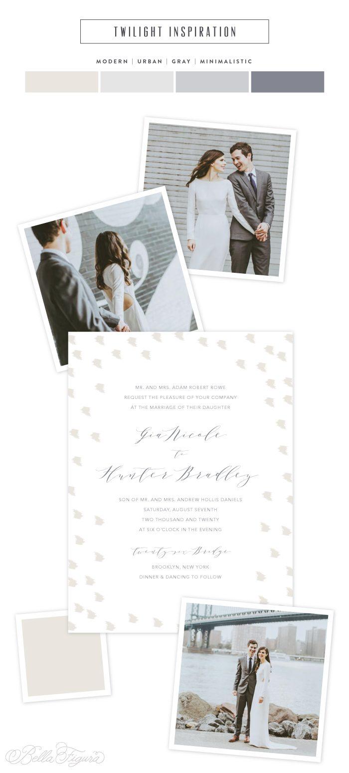 Twilight: Modern minimalist wedding invitations - Bella Figura