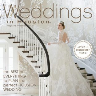 Weddings in Houston Magazine featuring Bella Figura's Katarina wedding invitations - Summer / Fall 2017