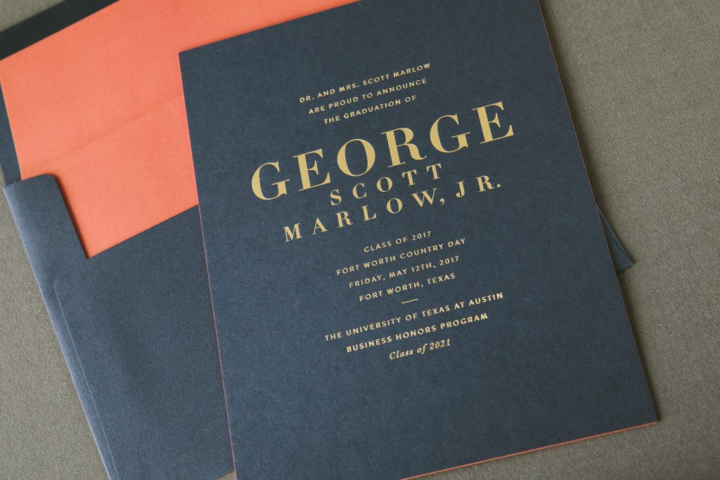 gold foil stamped graduation announcements | Bella Figura