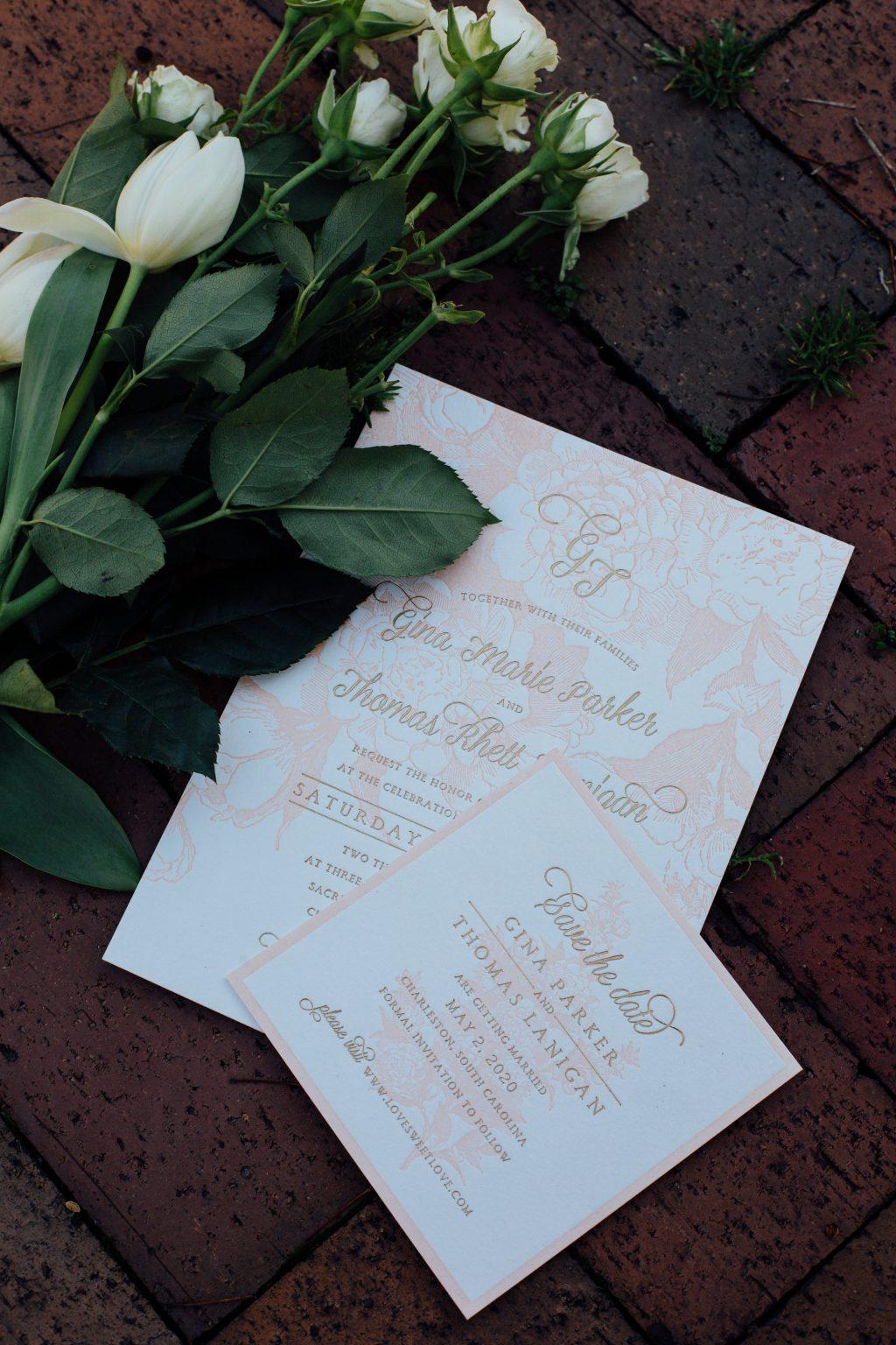 Romantic summer wedding inspiration shoot in downtown Syracuse featuring Bella Figura's Eden letterpress wedding invitations | Photos by Nicole Lagoe Photography