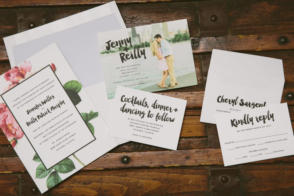 Modern floral wedding invitations for Chicago wedding Bella Figura