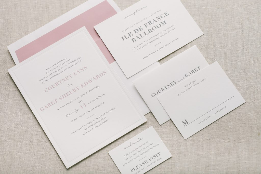 pink + gray formal letterpress wedding invitations | Bella Figura