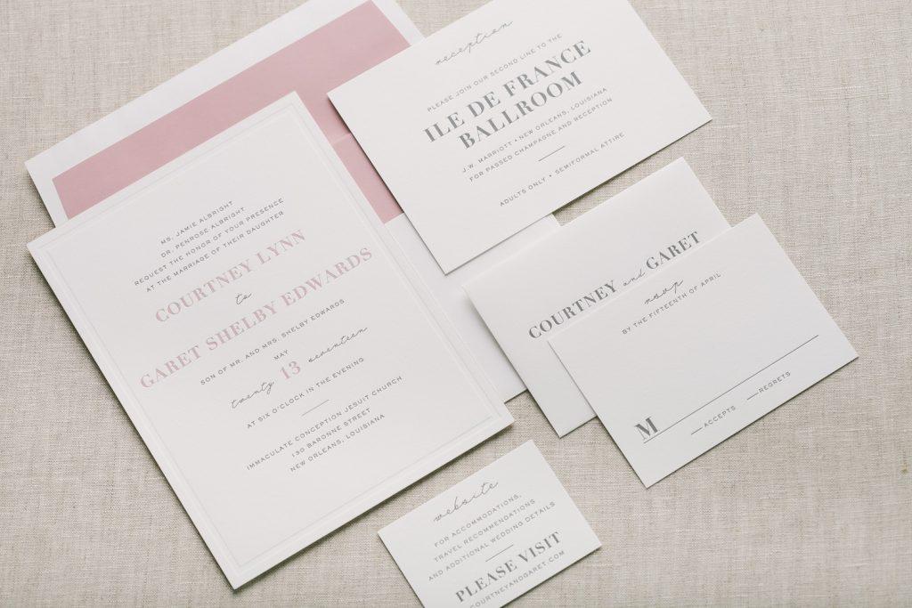 pink + gray formal letterpress wedding invitations | Bella Figura