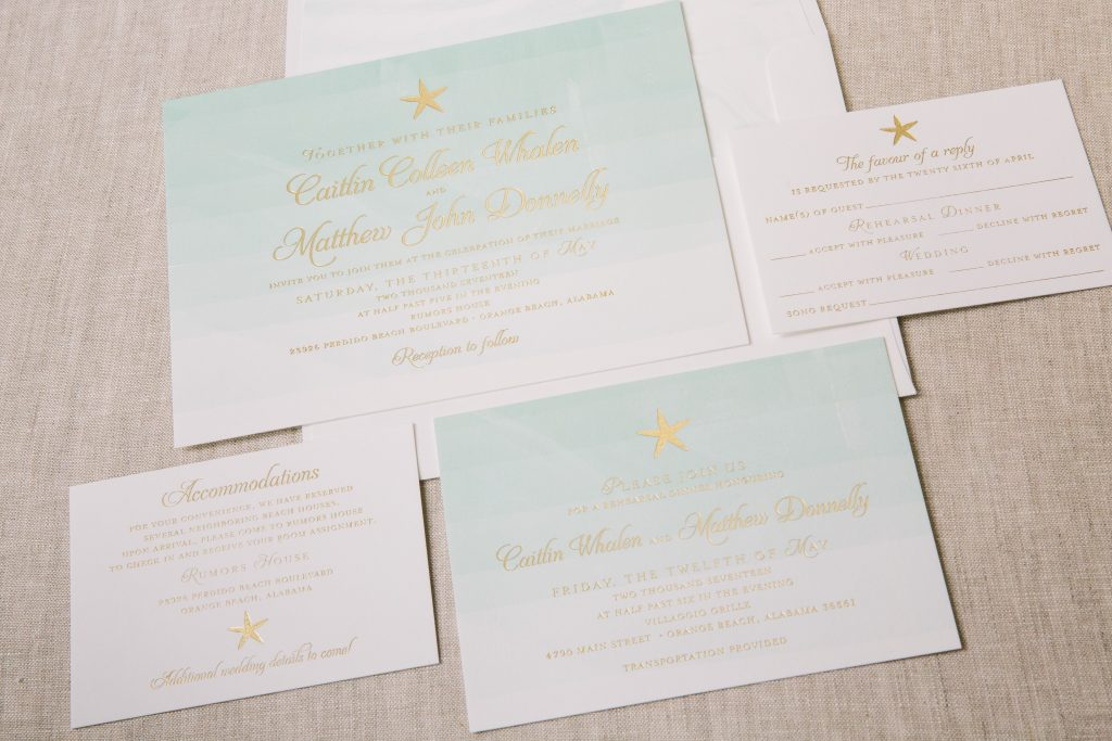 watercolor wedding invitations for coastal celebration in Alabama | Bella Figura