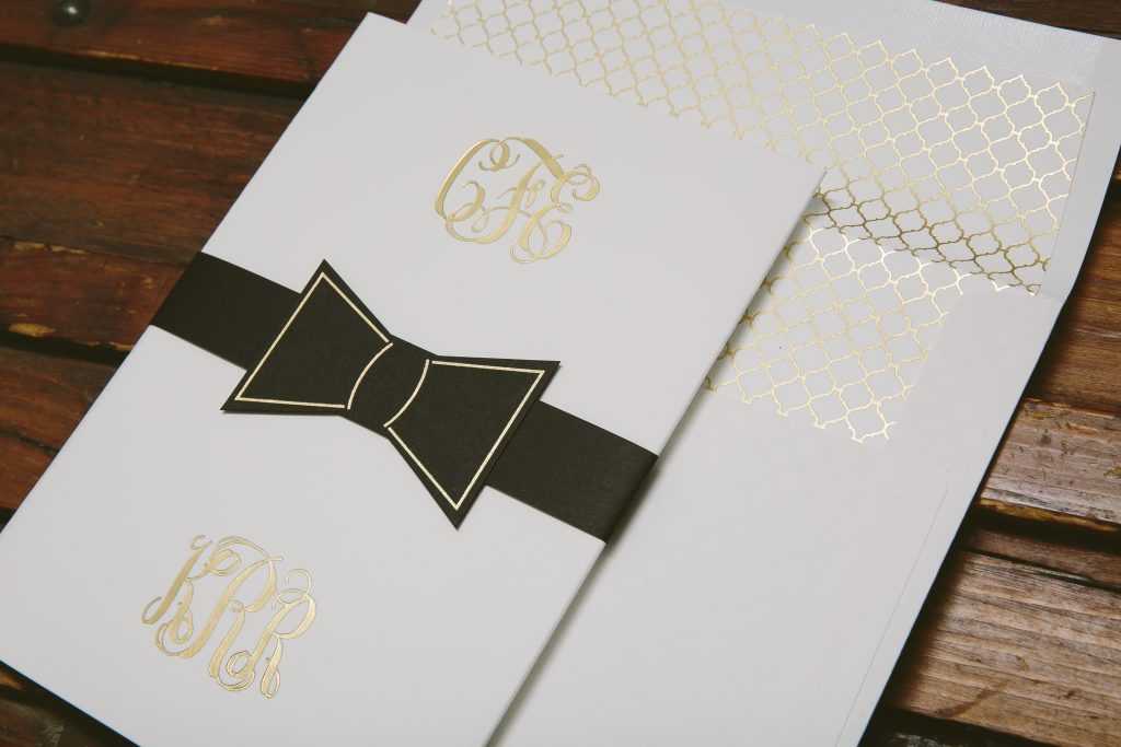 custom gold foil black tie wedding invitations bella figura - Black Tie Wedding Invitations