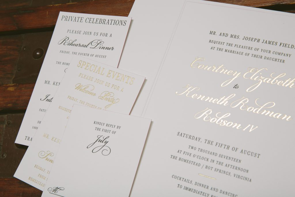 Custom gold foil black tie wedding invitations | Bella Figura