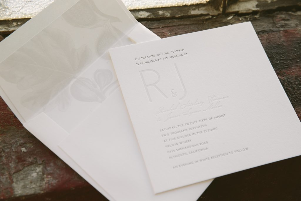 Monochromatic wedding invitations for California winery wedding | Bella Figura