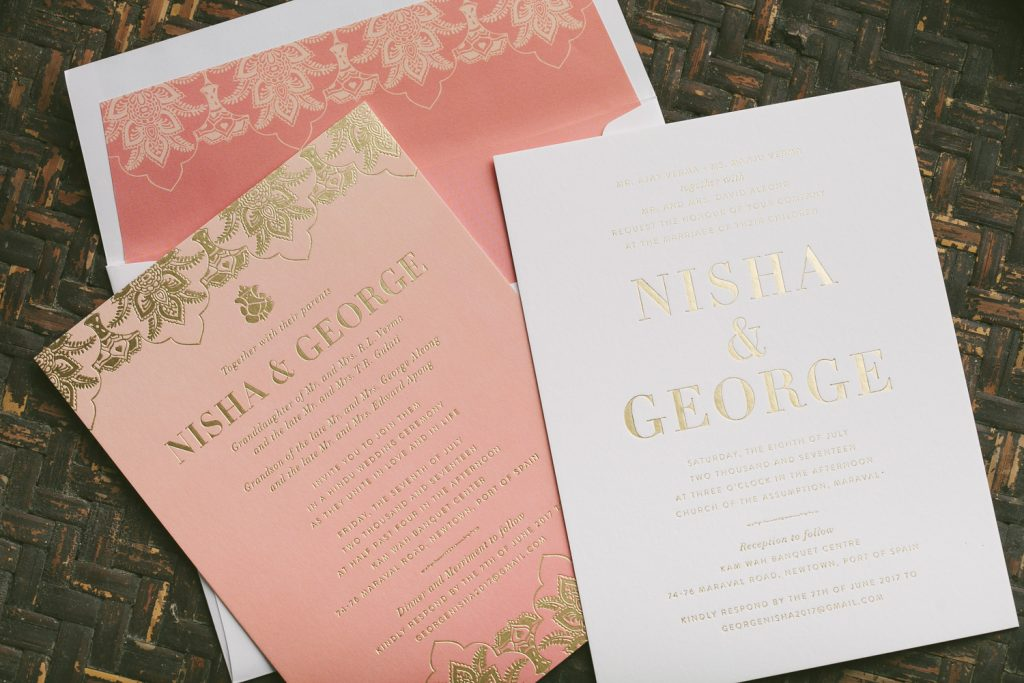 gold foil Hindu wedding invitations for Trinidad and Tobago wedding | Bella Figura